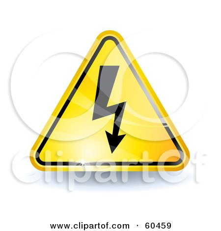 Royalty-Free (RF) Clipart Illustration of a 3d Shiny Yellow High Voltage Sign by Oligo