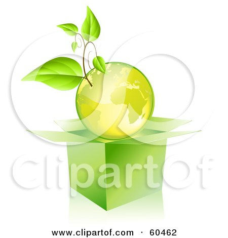 Royalty-Free (RF) Clipart Illustration of a Plant Growing On A Green Globe Over An Open Box by Oligo