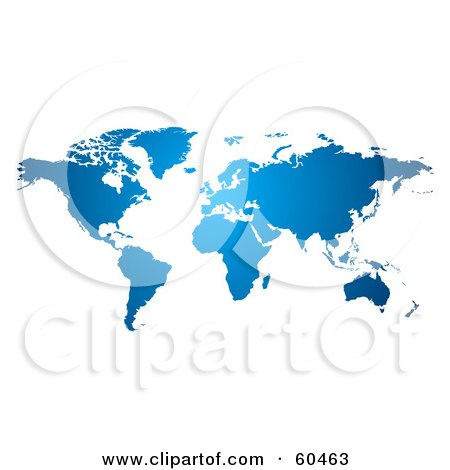 Royalty-Free (RF) Clipart Illustration of a Gradient Blue World Atlas Map by Oligo