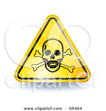 Royalty-Free (RF) Clipart Illustration of a 3d Shiny Yellow Poison Sign by Oligo