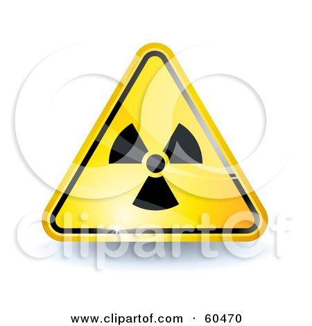 Royalty-Free (RF) Clipart Illustration of a 3d Shiny Yellow Radiation Sign by Oligo
