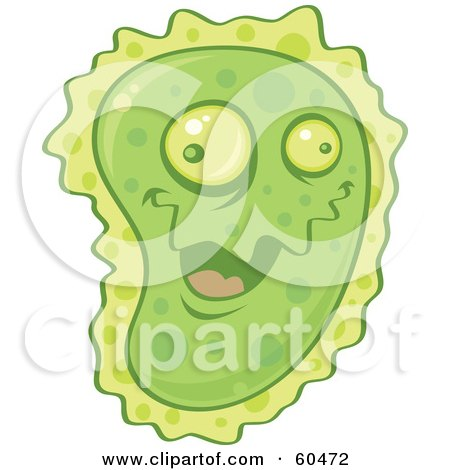 Royalty-Free (RF) Clipart Illustration of a Goofy And Friendly Green Virus Character by John Schwegel