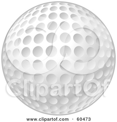Royalty-Free (RF) Clipart Illustration of a New And Clean White Golf Ball With Dimples by John Schwegel