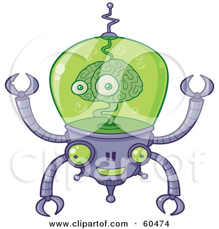 Royalty Free RF Clipart Illustration Of A Smiling Brain Robot With Pincers And The Brain Floating In Green Liquid