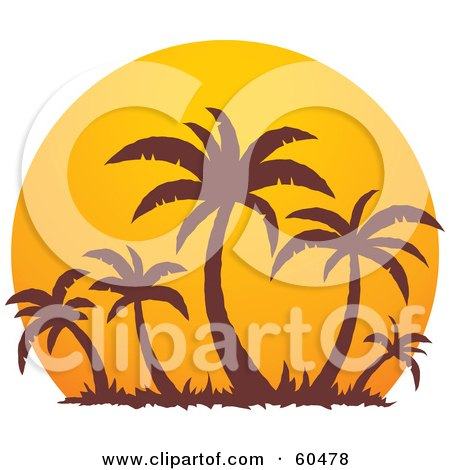 Royalty-Free (RF) Clipart Illustration of Brown Palm Trees Silhouetted Against A Large Orange At Sunset by John Schwegel