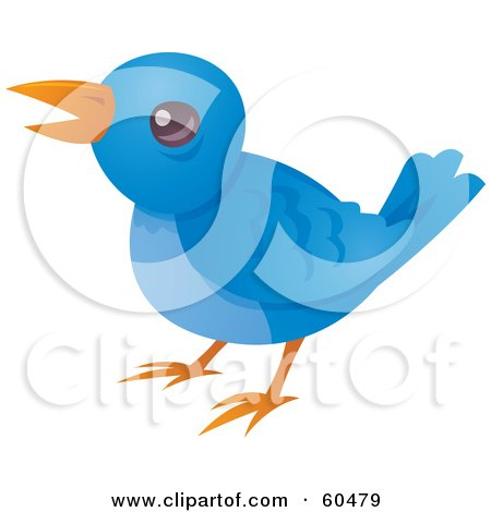 Royalty-Free (RF) Clipart Illustration of a Little Blue Bird Tweeting by John Schwegel