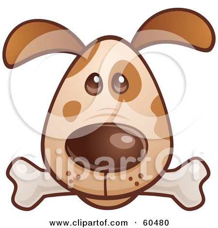 Royalty-Free (RF) Clipart Illustration of a Cute Brown Puppy Dog Face With A Bone In His Mouth by John Schwegel