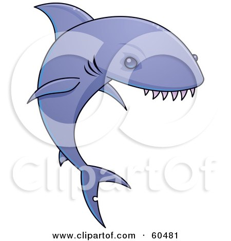 Royalty-Free (RF) Clipart Illustration of a Purple Shark With Very Sharp Teeth by John Schwegel