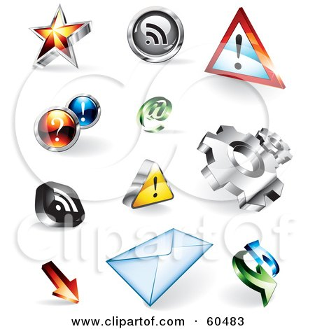 Royalty-Free (RF) Clipart Illustration of a Digital Collage Of 3d Colorful Website Buttons; Stars, Rss, Attention, Assistance, Email, Gears, Download, Envelope And Refresh by TA Images