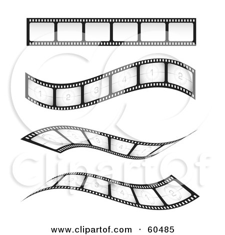 Royalty-Free (RF) Clipart Illustration of a Digital Collage Of Four Straight And Waving Blank And Numbered Film Strips by TA Images