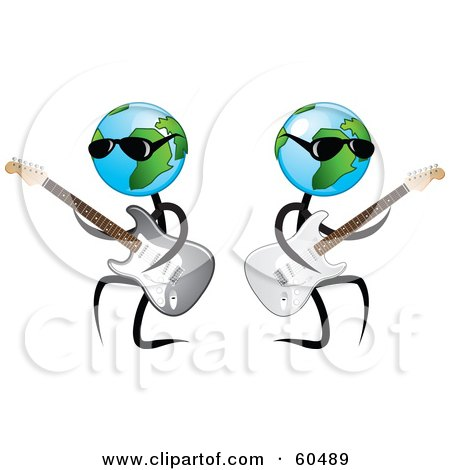 Royalty-Free (RF) Clipart Illustration of Cool Globe Dudes Playing Guitars And Wearing Shades by TA Images
