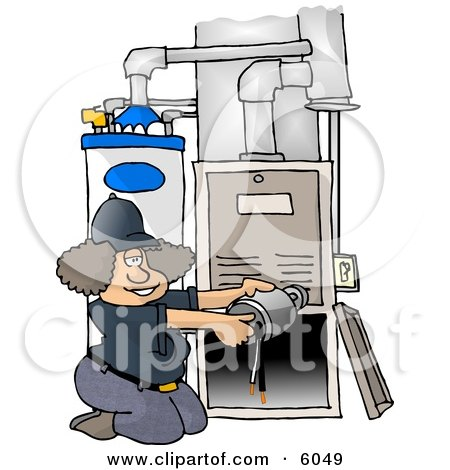 Woman Repairing a Broken Furnace Attached to a Water Heater Clipart Picture by djart