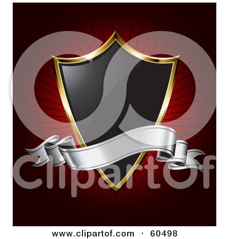 Royalty-Free (RF) Clipart Illustration of a Black 3d Silver Banner Over A Black An Gold Shield On A Bursting Red Background by TA Images