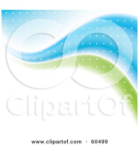 Royalty-Free (RF) Clipart Illustration of an Abstract White Background With Green And Blue Waves And White Dots by TA Images