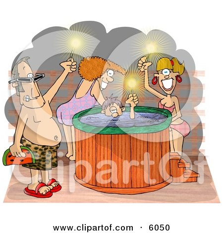 Happy Men and Women at a Hot Tub Party Clipart Picture by djart
