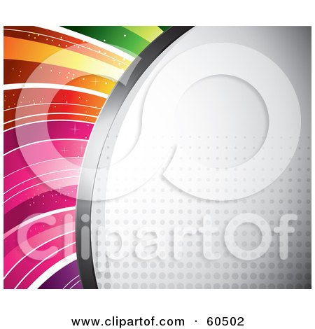 Royalty-Free (RF) Clipart Illustration of a Curving Halftone Background With Faint Dots And Rainbow Lines by TA Images