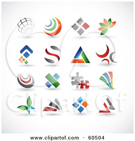 Royalty-Free (RF) Clipart Illustration of a Digital Collage Of 16 Colorful Abstract Web Design Elements Or Logos by TA Images