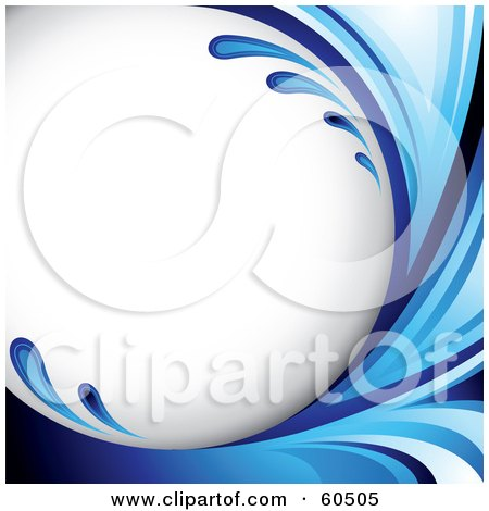 Royalty-Free (RF) Clipart Illustration of a Curving Blue Splash Background On White by TA Images