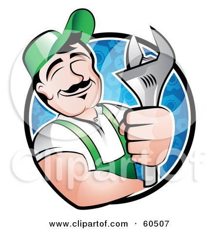 Royalty-Free (RF) Clipart Illustration of a Pleasant Male Mechanic Leaning On The Rim Of A Circle, Holding A Wrench And Smiling by TA Images