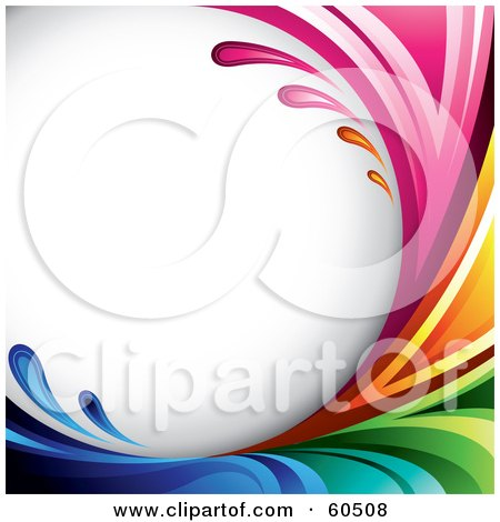 Royalty-Free (RF) Clipart Illustration of a Curving Rainbow Splash Background On White by TA Images