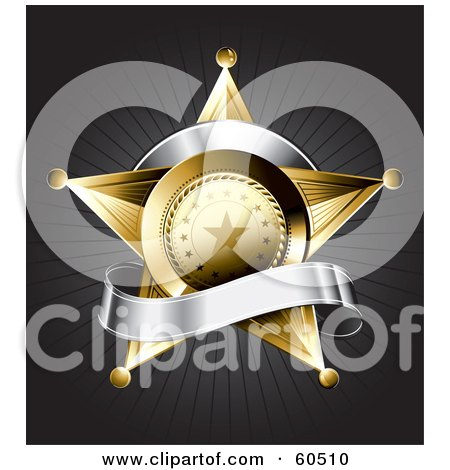 Royalty-Free (RF) Clipart Illustration of a Gold Star Police Badge Draped By A Blank Silver Banner On A Bursting Gray Background by TA Images