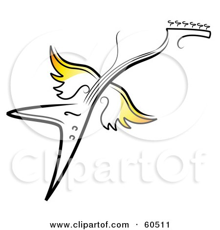 Royalty-Free (RF) Clipart Illustration of a Flying Electric Guitar With Yellow Wings by TA Images