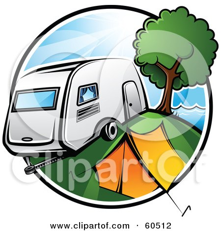 Royalty-Free (RF) Clipart Illustration of a Retro Camper Parked By A Tent And Tree In A Camp Ground by TA Images
