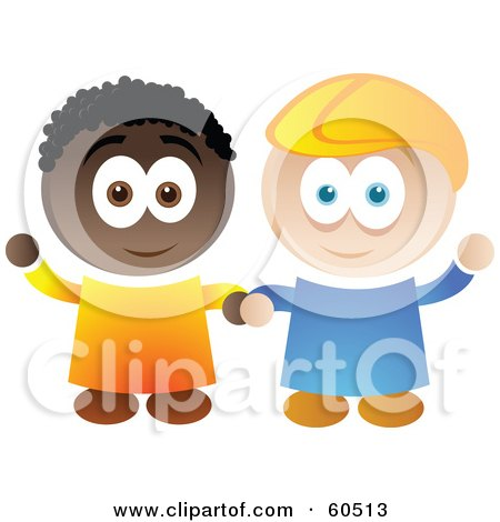 Royalty-Free (RF) Clipart Illustration of Two Friendly African American And Caucasian Boys Holding Hands And Waving by TA Images