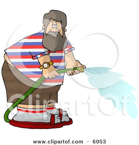 Fat Man with a Beard Spraying Water from a Garden Hose Clipart Picture by djart