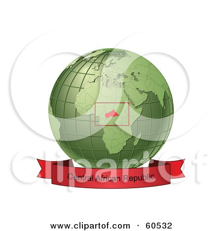 Royalty-Free (RF) Clipart Illustration of a Red Central African Republic Banner Along The Bottom Of A Green Grid Globe by Michael Schmeling
