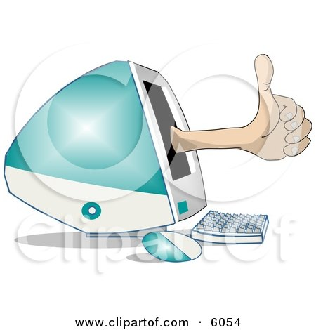 Thumbs Up for Apple's new iMac Computer Clipart Picture by djart