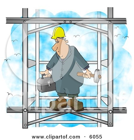 Male Construction Worker Putting Together the Iron Structure of a Building Posters, Art Prints