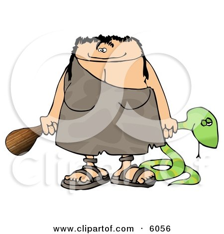 Cavewoman Holding a Dead Snake and a Wooden Club Clipart Picture by djart