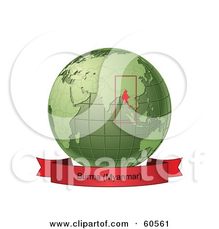 Royalty-Free (RF) Clipart Illustration of a Red Burma Myanmar Banner Along The Bottom Of A Green Grid Globe by Michael Schmeling