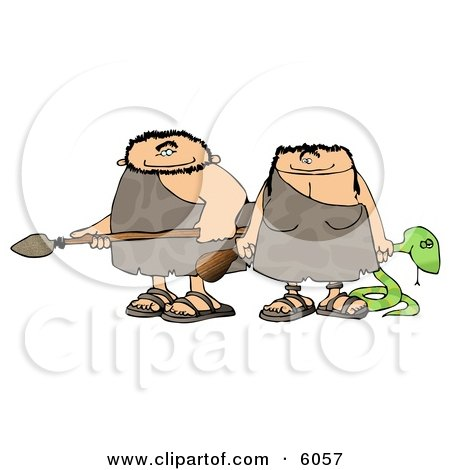 Hunting Caveman and Cavewoman Armed with Weapons Clipart Picture by djart