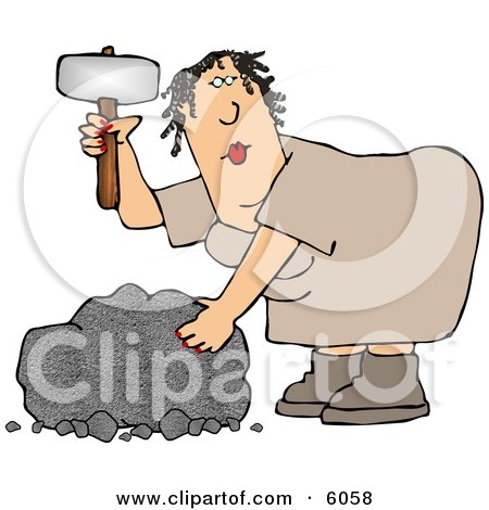 Cavewoman Shaping a Stone with a Hammer-like Tool Clipart Picture by djart