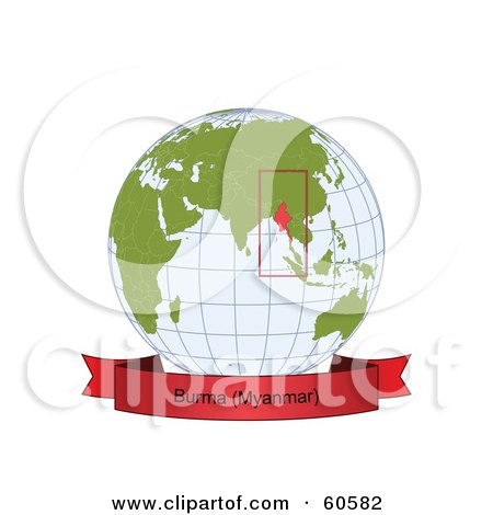Royalty-Free (RF) Clipart Illustration of a Red Burma Myanmar Banner Along The Bottom Of A Grid Globe by Michael Schmeling