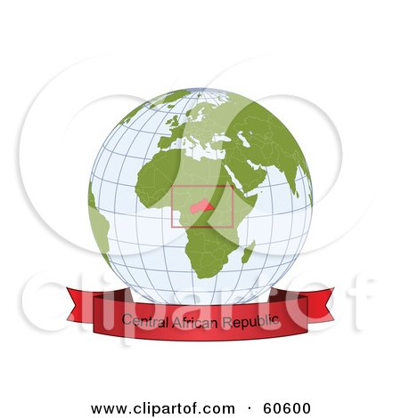 Royalty-Free (RF) Clipart Illustration of a Red Central African Republic Banner Along The Bottom Of A Grid Globe by Michael Schmeling
