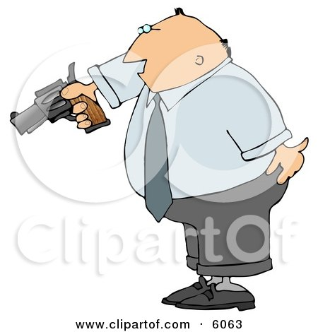 Angry Businessman Pointing a Loaded Gun at Someone Clipart Picture by djart