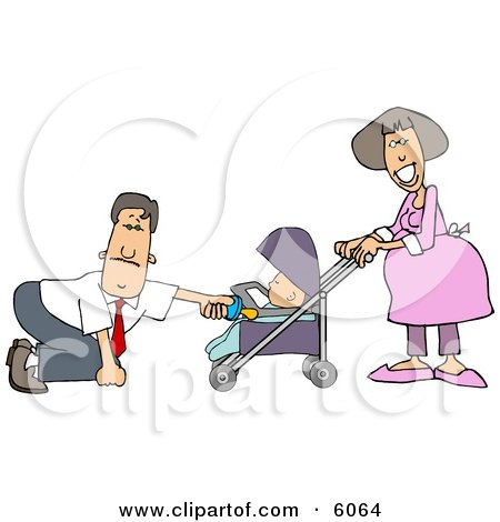 Businessman with a Pregnant Wife and Baby Daughter Posters, Art Prints