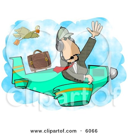 Private Pilot/Businessman Flying a Plane Clipart Picture by djart