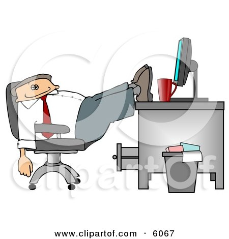 Exhausted Businessman Resting Feet on Computer Desk Clipart Picture by djart