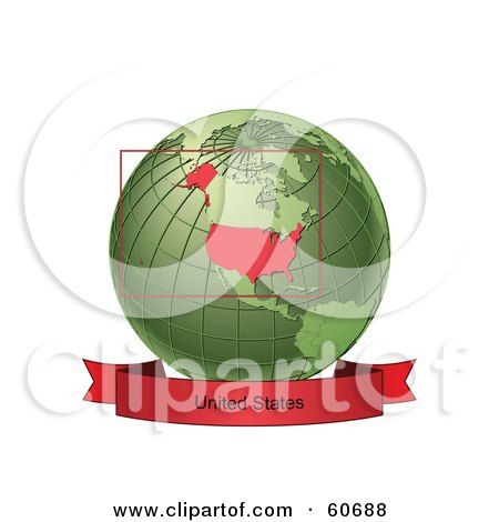 Royalty-Free (RF) Clipart Illustration of a Red United States Banner Along The Bottom Of A Green Grid Globe by Michael Schmeling