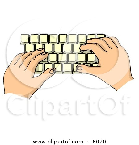 Hands Typing on a Computer Keyboard Clipart Picture by djart