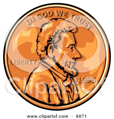 Close Up of an American Penny, Worth One Cent Clipart Picture by djart