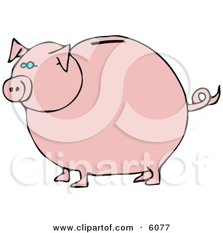 Pink Piggy Bank with Blue Eyes Posters, Art Prints