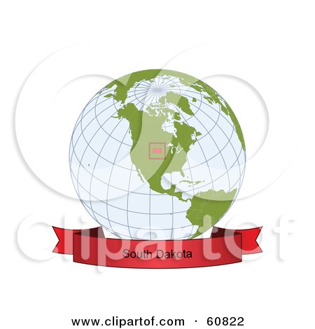 Royalty-Free (RF) Clipart Illustration of a Red South Dakota Banner Along The Bottom Of A Grid Globe by Michael Schmeling