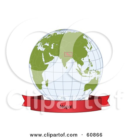 Royalty-Free (RF) Clipart Illustration of a Red Nepal Banner Along The Bottom Of A Grid Globe by Michael Schmeling