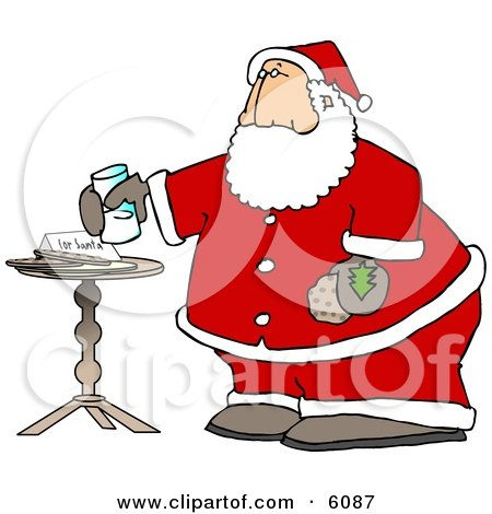 Santa Claus with Fresh Milk and Cookies Posters, Art Prints
