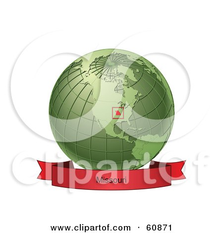 Royalty-Free (RF) Clipart Illustration of a Red Missouri Banner Along The Bottom Of A Green Grid Globe by Michael Schmeling